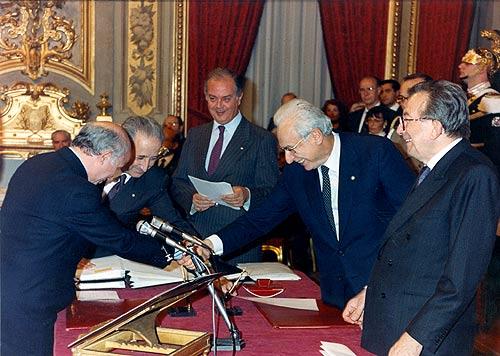 Paolo Cirino Pomicino con il Presidente Cossiga e Giulio Andreotti