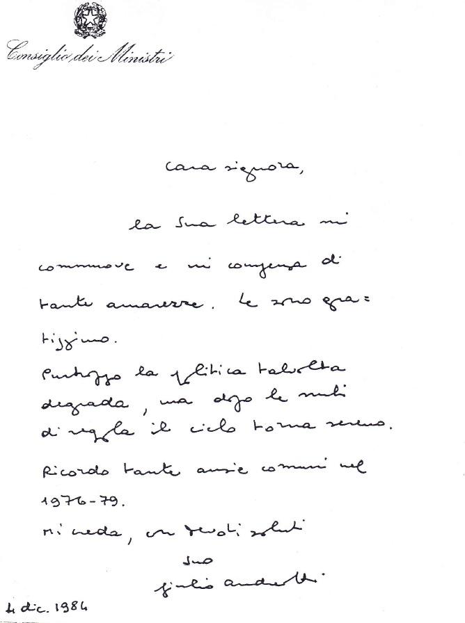 La risposta di Giulio Andreotti