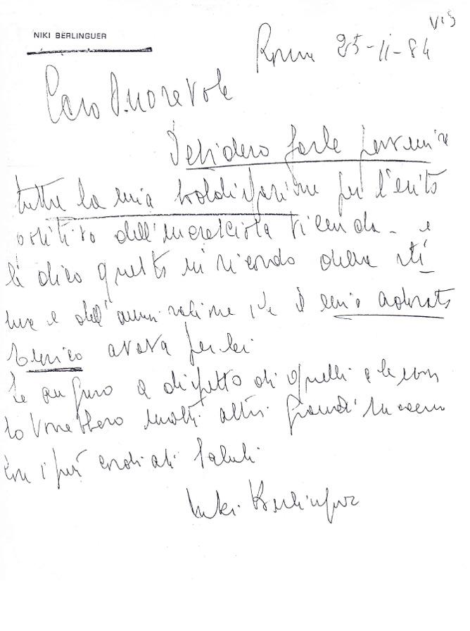 La lettera di Niki Berlinguer